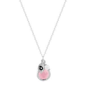 """Silver Engraved """"L"""" Leaf Pink Gem Drop Necklace"""